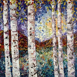 Silver Birch VI by Maya Eventov - Original Painting on Box Canvas sized 40x40 inches. Available from Whitewall Galleries